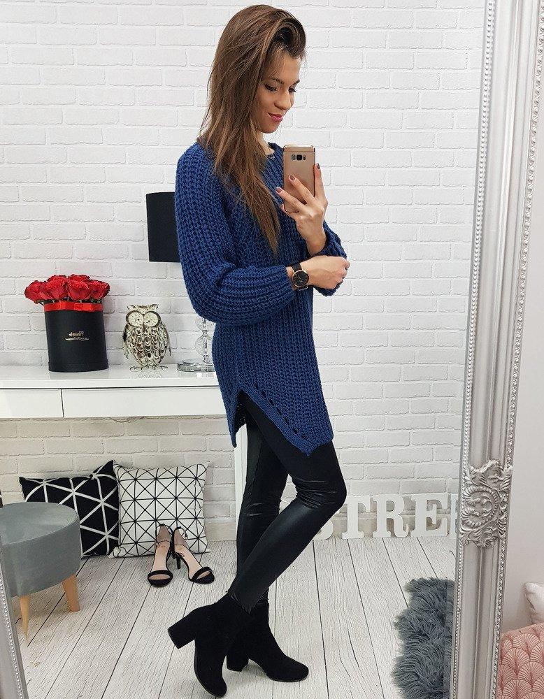 Perfektný modrý dámsky sveter (my0534)