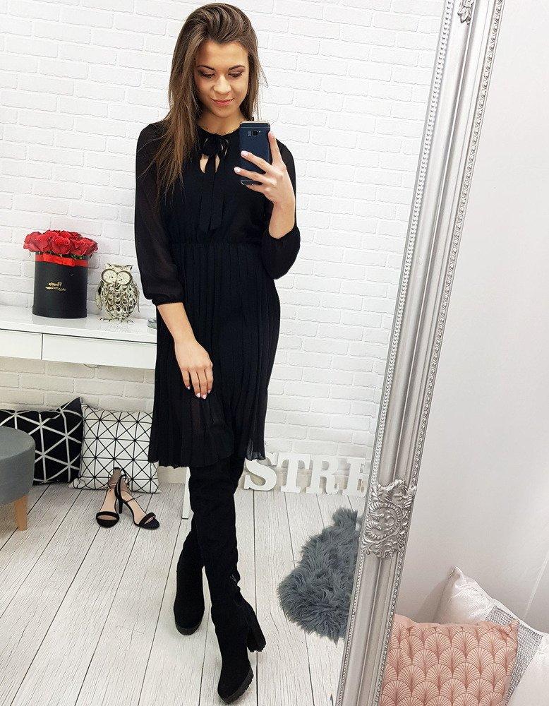 Krásne čierne dámske šaty (ey0729)
