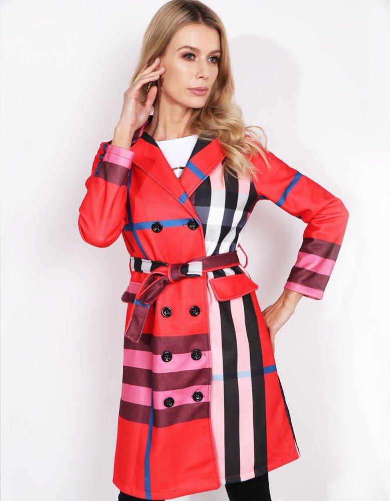 Płaszcz damski BURBERRY czerwony w kratę (ny0234)
