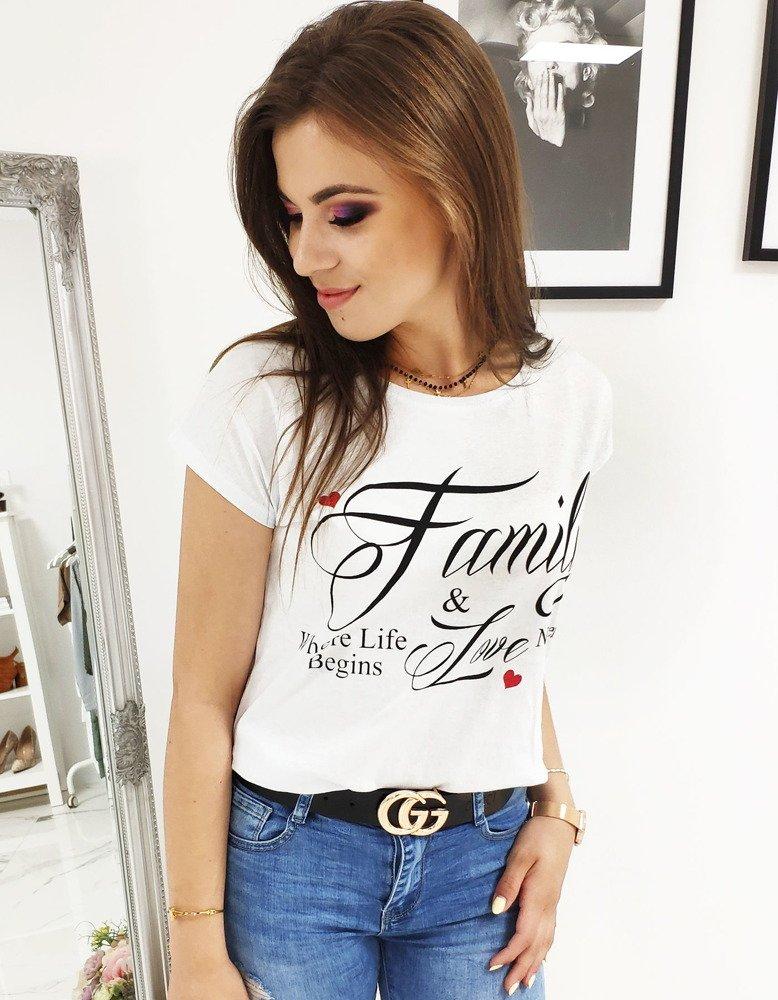 T-shirt damski z nadrukiem biały RY1008