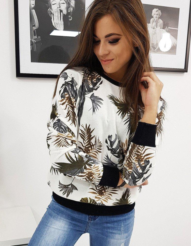 Bluza damska biała w liście (by0215)