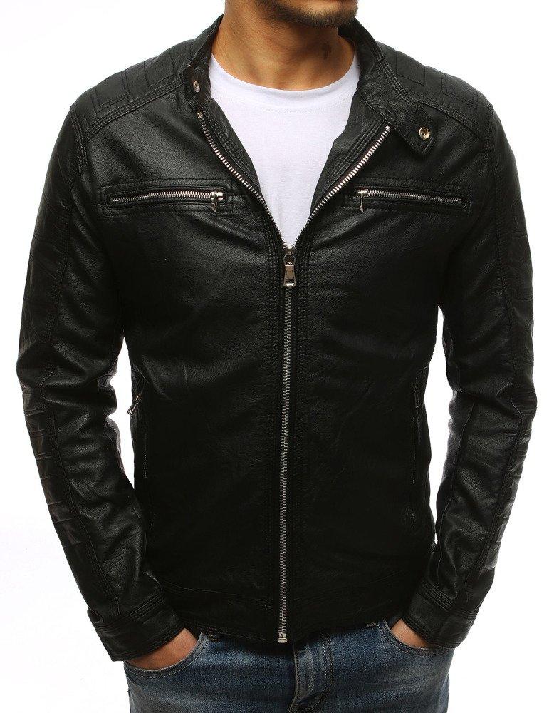 Čierna koženková bunda (tx1532)