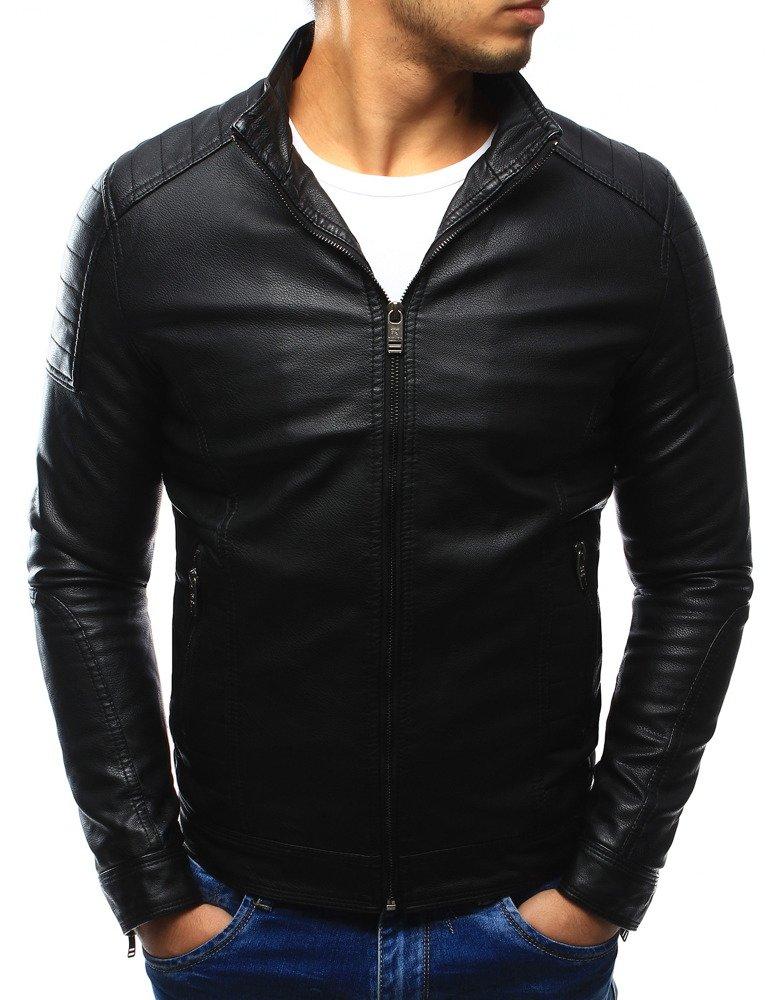 Koženková pánska čierna bunda (tx1877)
