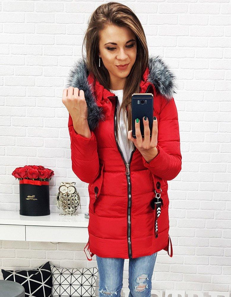 Zimná červená dámska bunda (ty0486)
