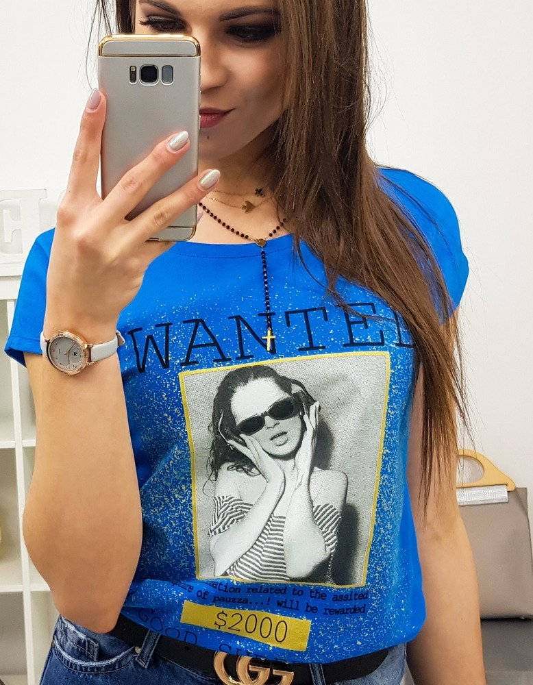 T-shirt damski WANTED z nadrukiem chabrowy (ry0827)