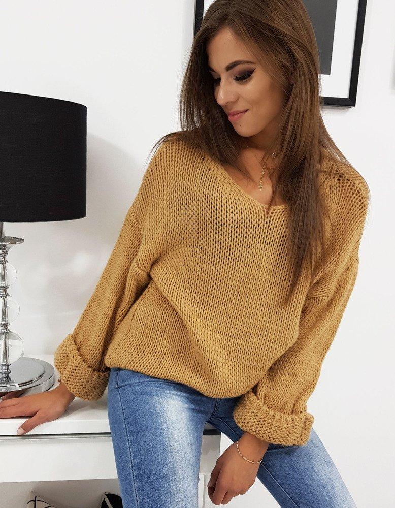 Sweter damski ALESSIA kamelowy (my0330)