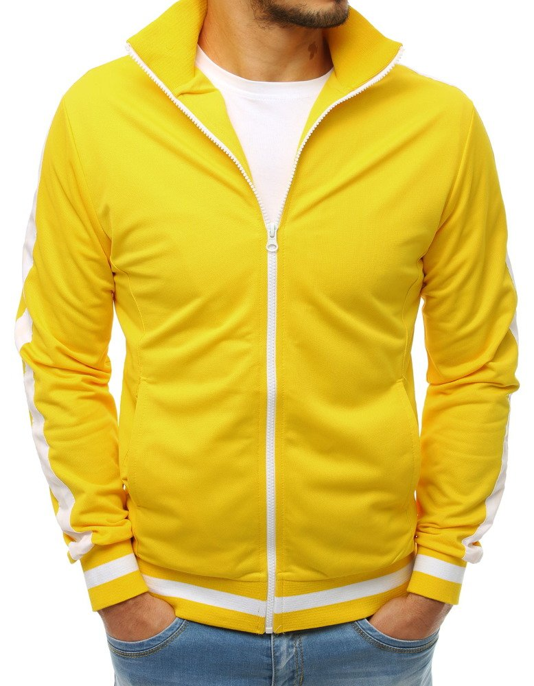 Žltá pánska mikina na zapínanie (bx3917)
