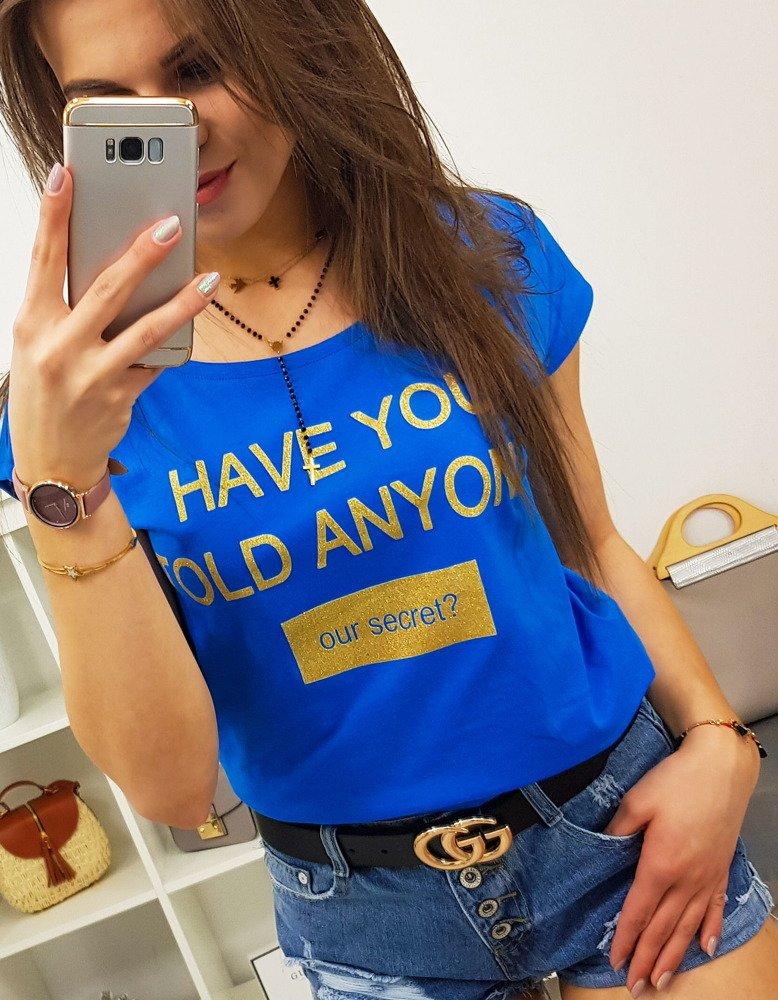 T-shirt damski SECRET z nadrukiem chabrowy (ry0837)