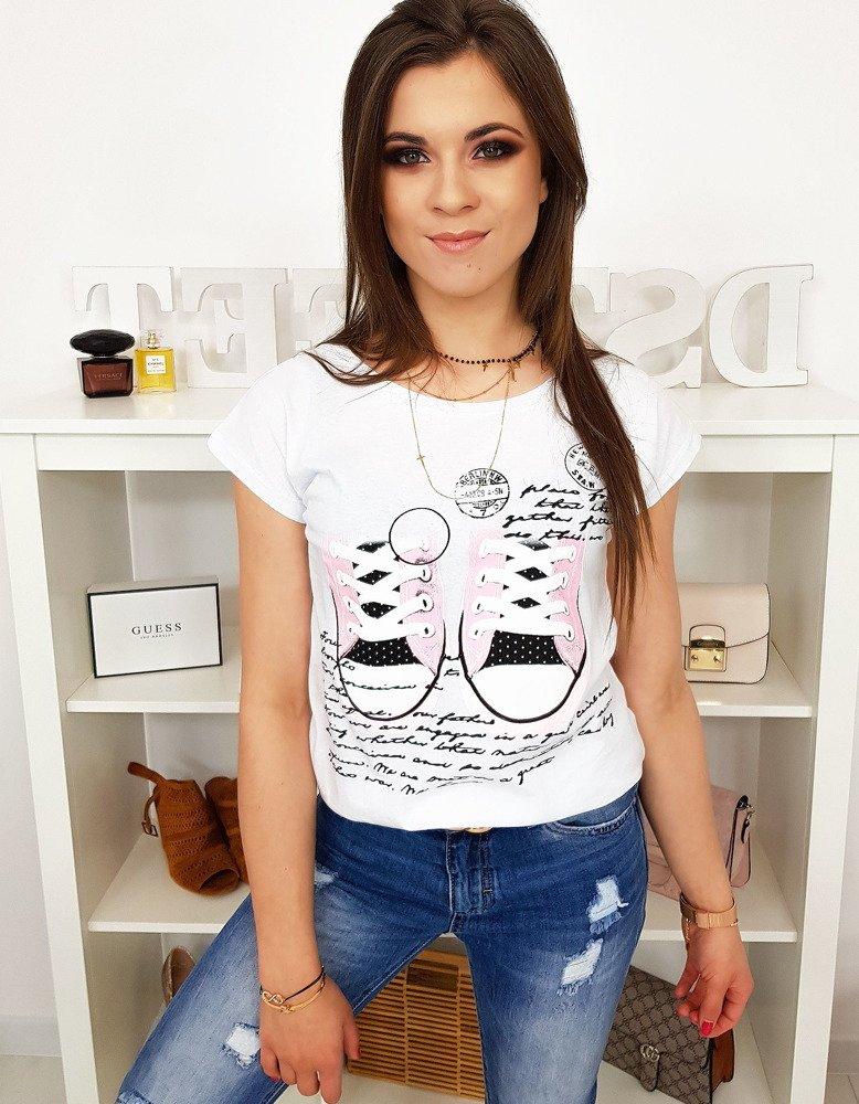 T-shirt damski z nadrukiem biały RY1028