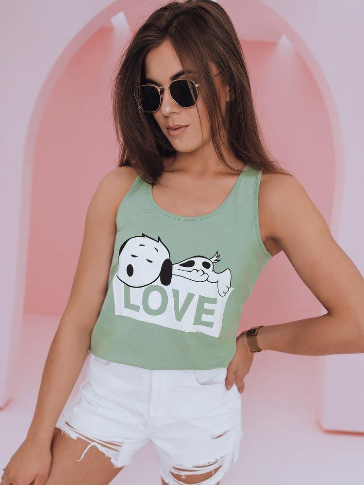 T-shirt damski SNOOPY LOVE zielony RY1505