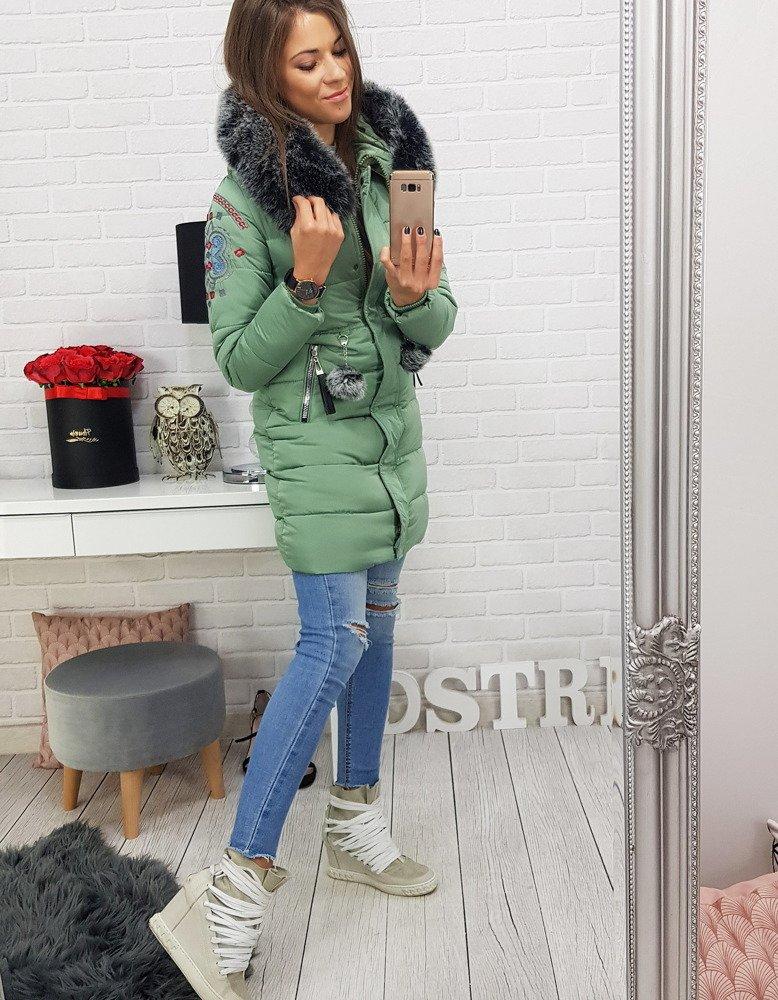 Kurtka damska FOLK zimowa pikowana z kapturem zielona TY0404