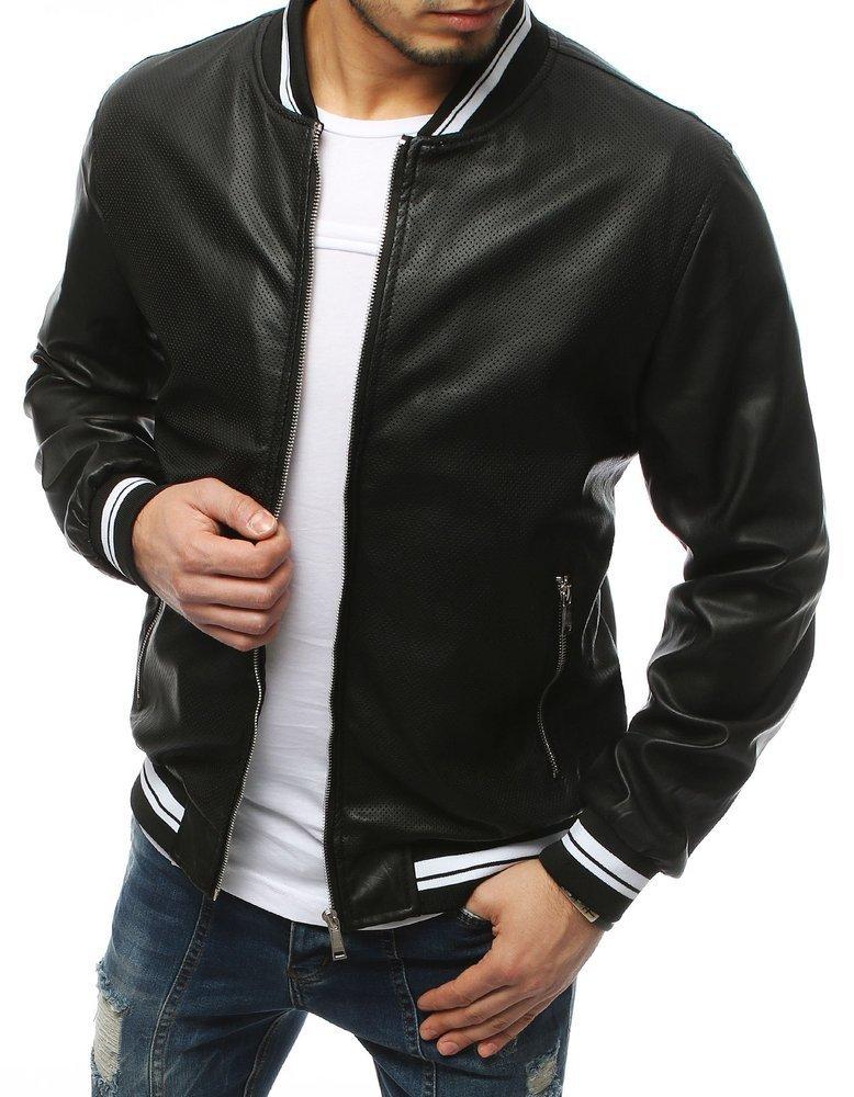 Pánska čierna koženková bunda TX3155