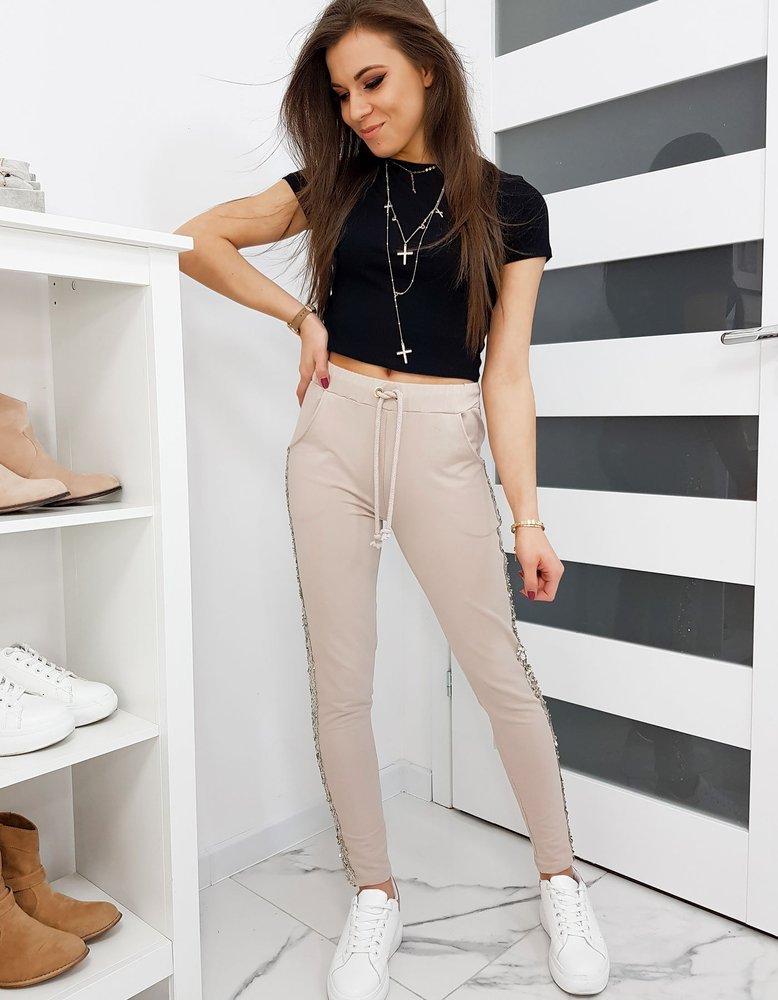 Spodnie dresowe damskie SHINE beżowe UY0271