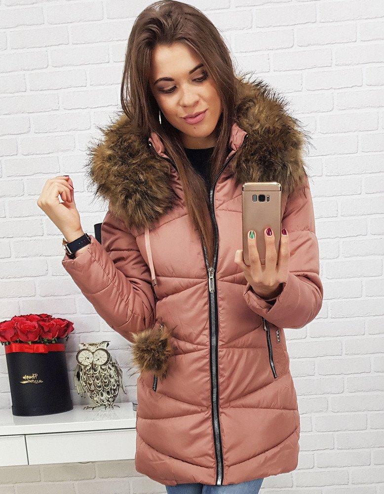 Ružová dámska bunda na zimu (ty0429)