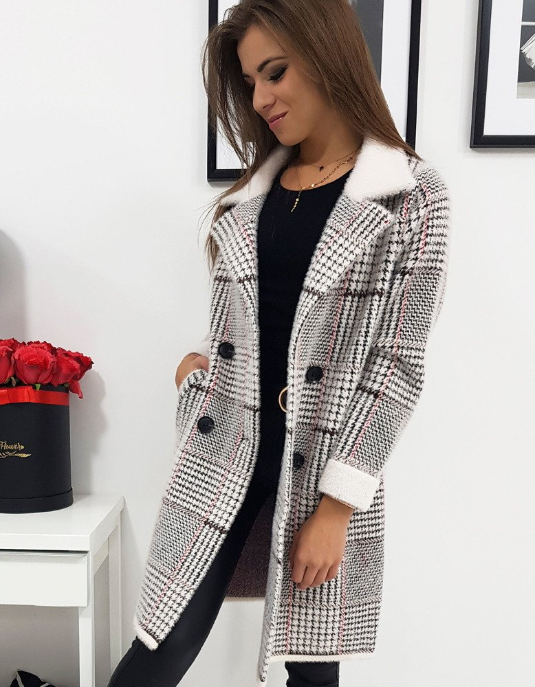 Płaszcz damski dwurzędowy TOP ONE w kratkę (ny0275)