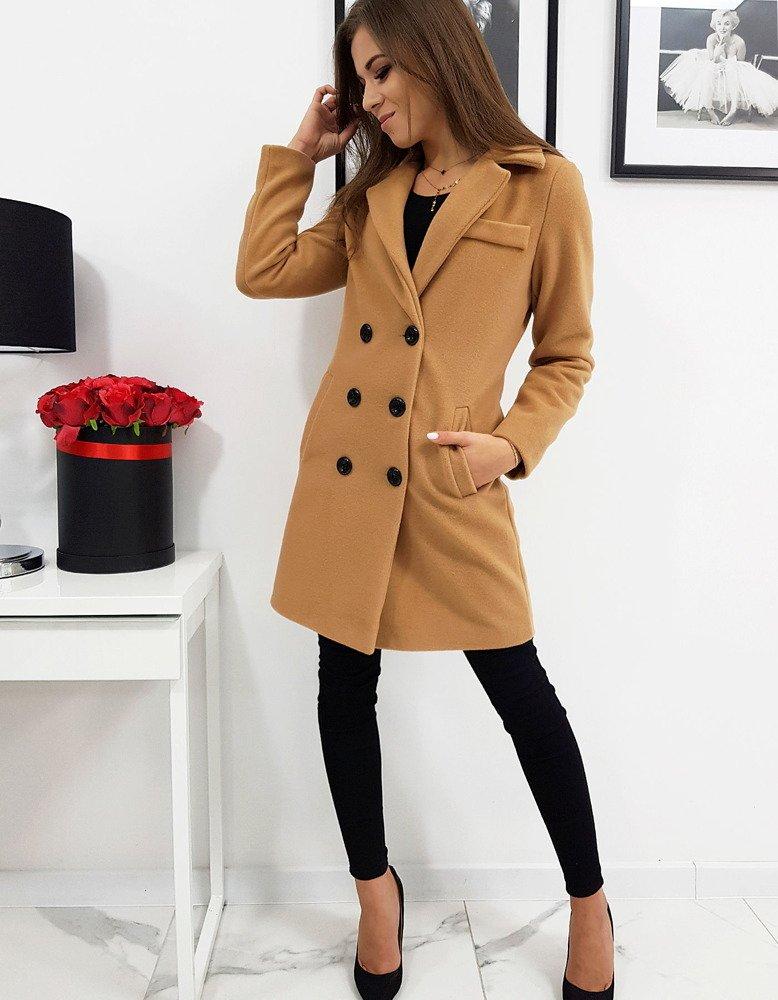 Płaszcz damski dwurzędowy BELLA kamelowy NY0289