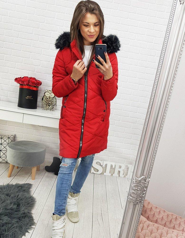 Pekná dámska červená bunda na zimu s kapucňou (ty0527)