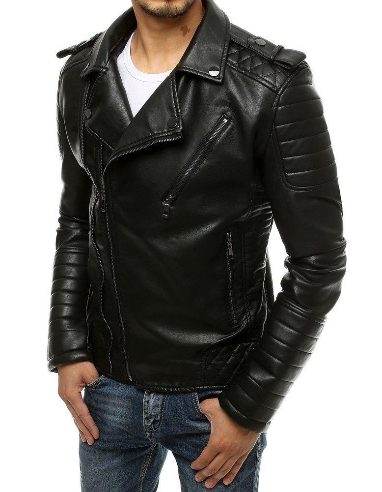 Čierna koženková bunda TX3468