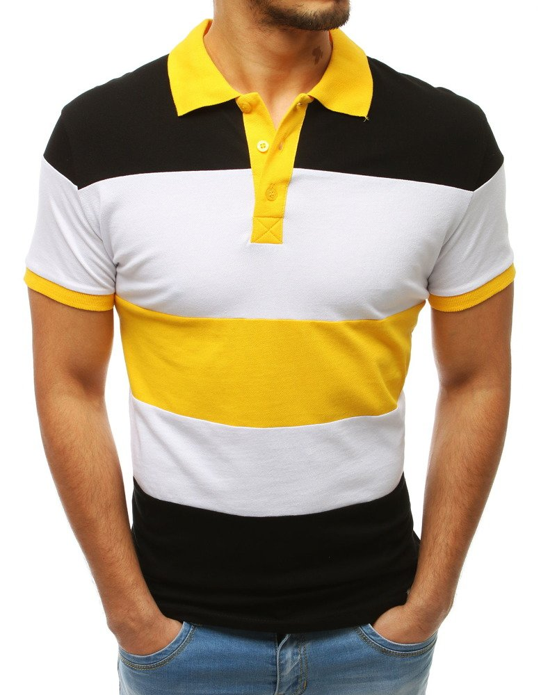 Koszulka polo męska czarno-żółto PX0166
