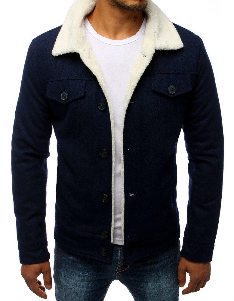 Pánska bunda s kožúškom námornícka modra