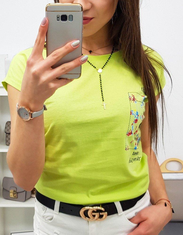 T-shirt damski THINGS z nadrukiem limonkowy (ry0879)