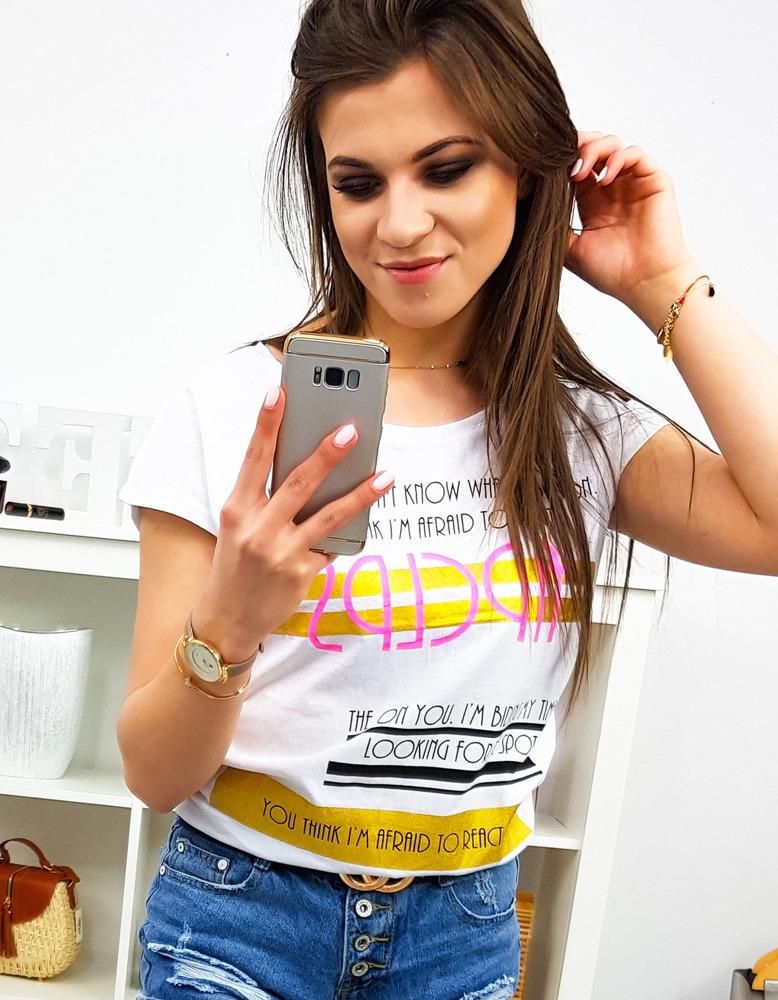 T-shirt damski z nadrukiem biały RY1179