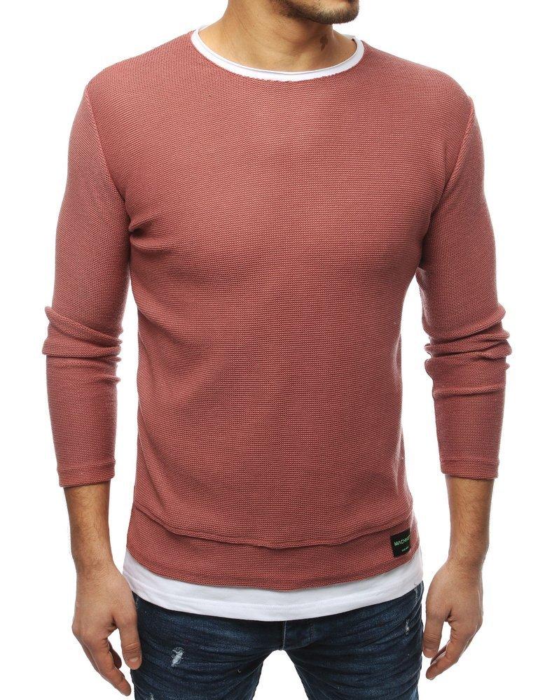 Pohodlný pánsky ružový sveter (wx1453)