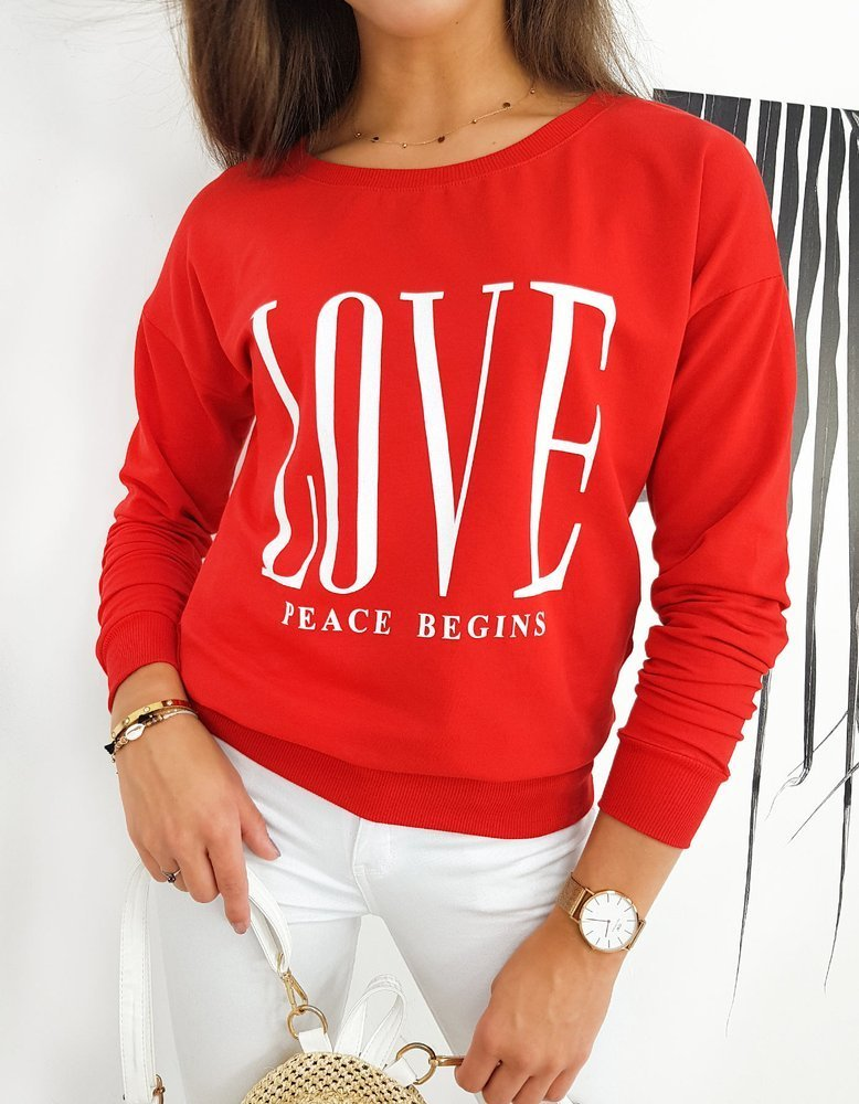 Bluza damska PEACE czerwona BY0525