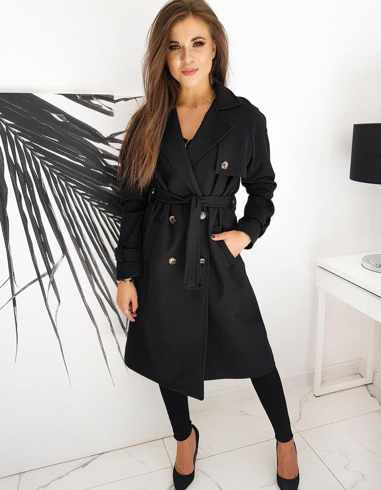 Płaszcz damski dwurzędowy VILLA czarny NY0375