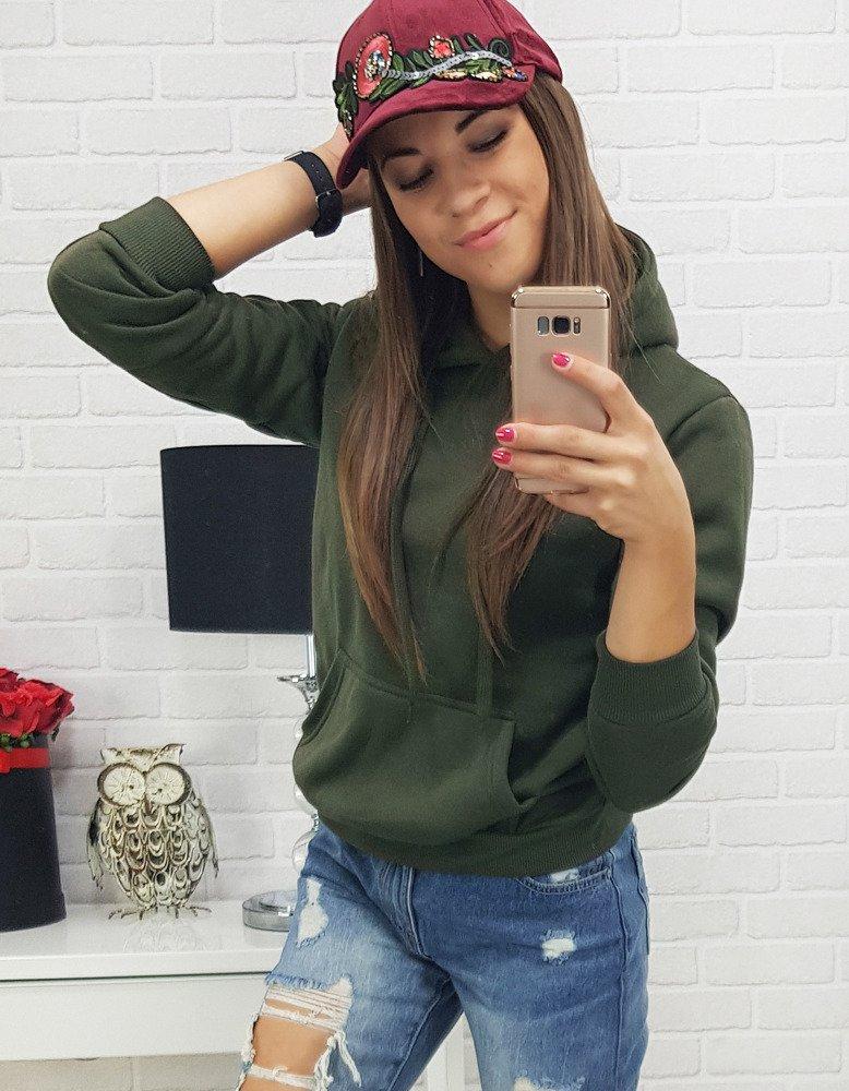 Bluza damska BASIC z kapturem zielona BY0161