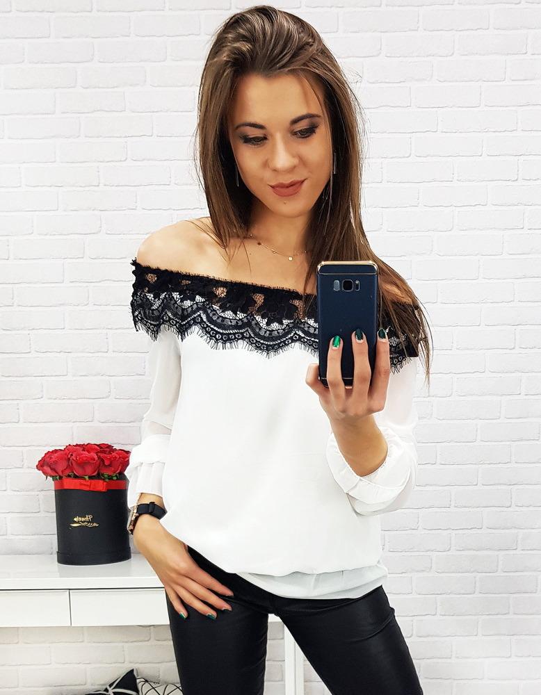 Biała bluzka damska ARANDA (ry0584)