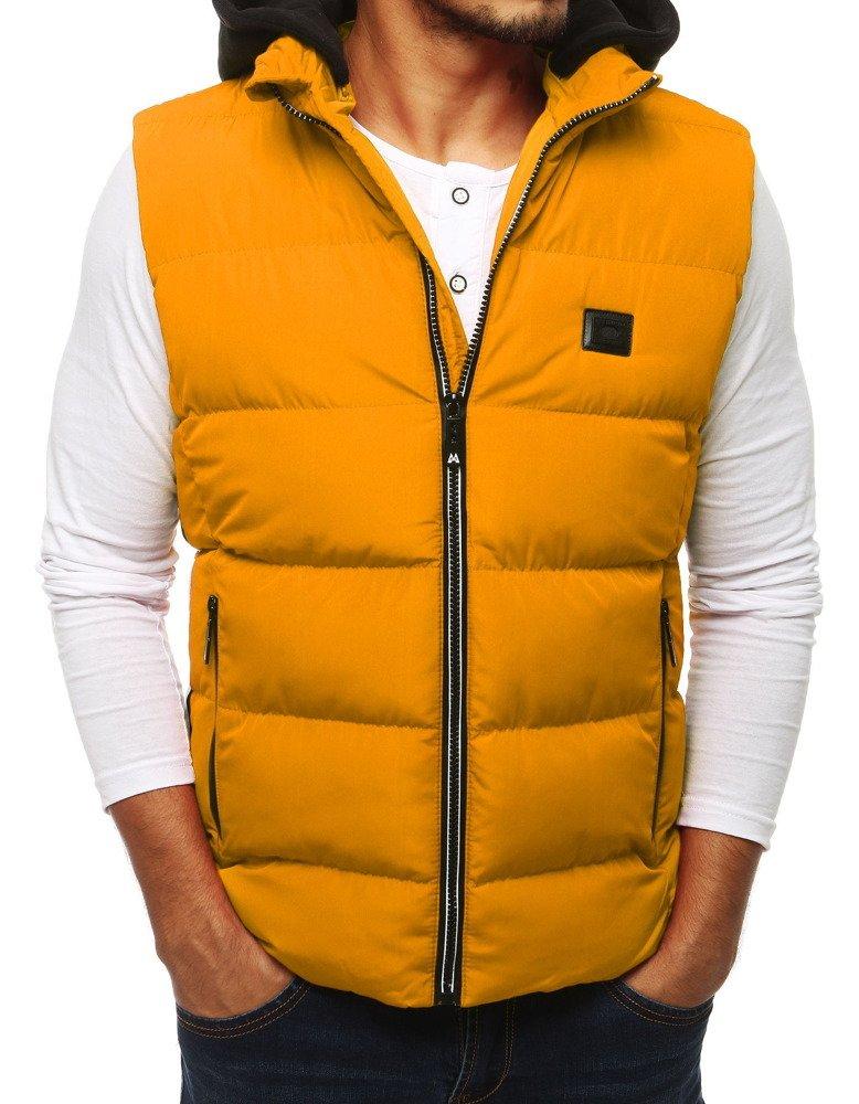 Pánska prešívaná vesta s kapucňou žltá