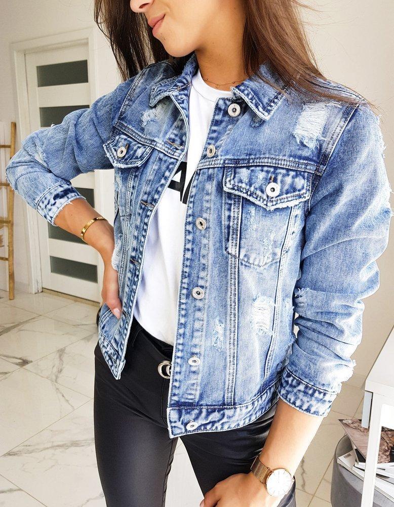 Kurtka damska jeansowa MODIVAS niebieska TY1238