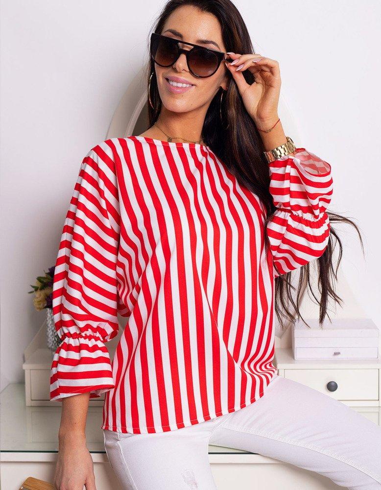 Bluzka damska STRIPE w czerwono-białe paski (ry0650)