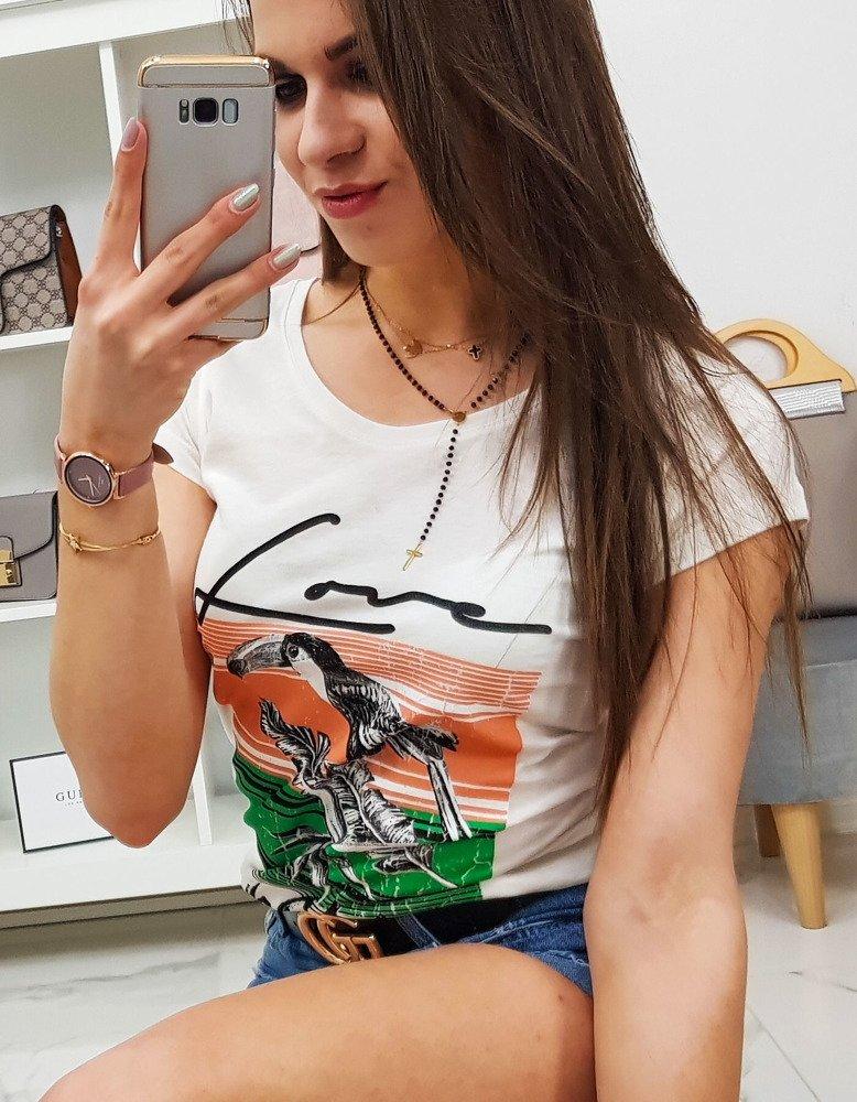 T-shirt damski PELIKAN z nadrukiem śmietankowy RY0753