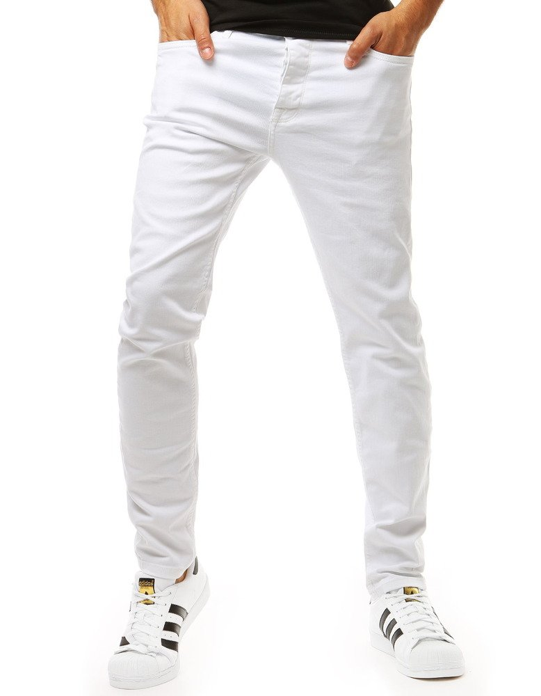 Pánske nohavice džínsové biele