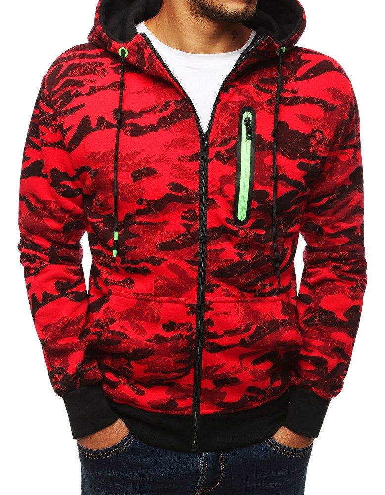 Bluza męska rozpinana z kapturem moro czerwona BX4047