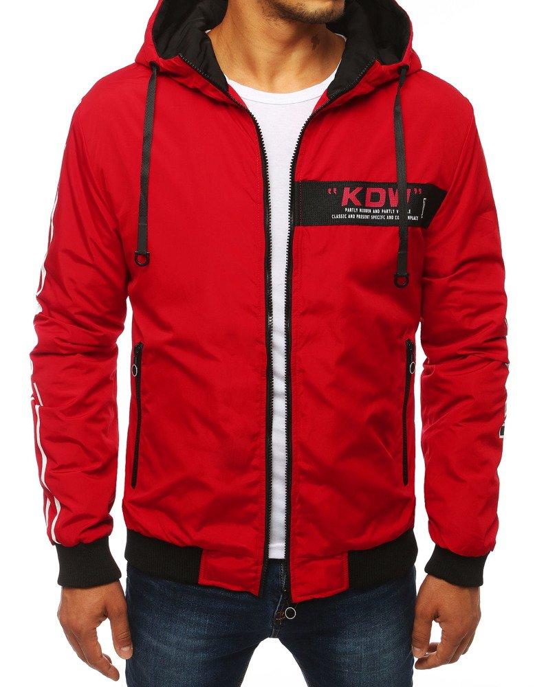 Pánska bunda s kapucňou červená