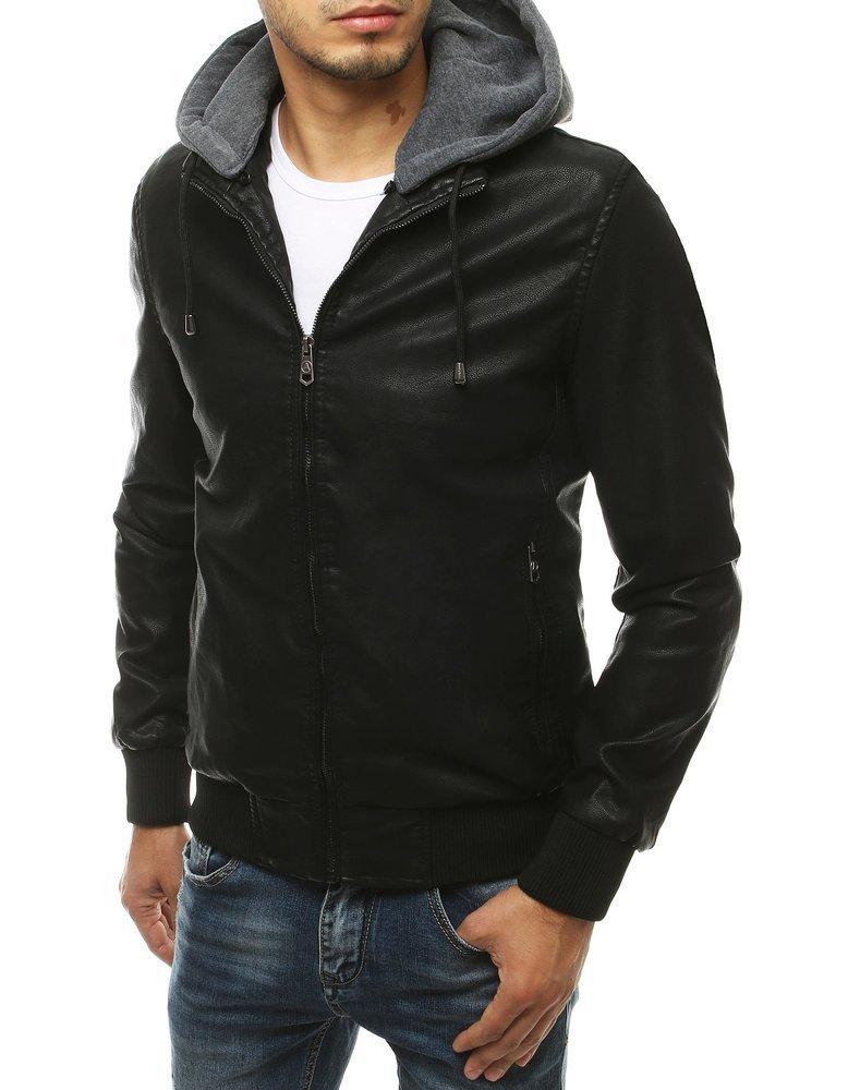 Koženková čierna bunda s kapucňou TX3456