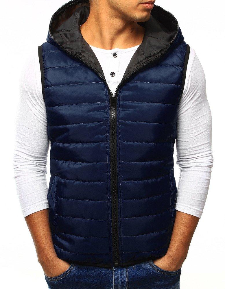 Pánska vesta s kapucňou námornícka modrá