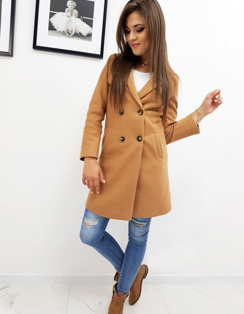 Płaszcz damski SOLEO kamelowy (ny0241)