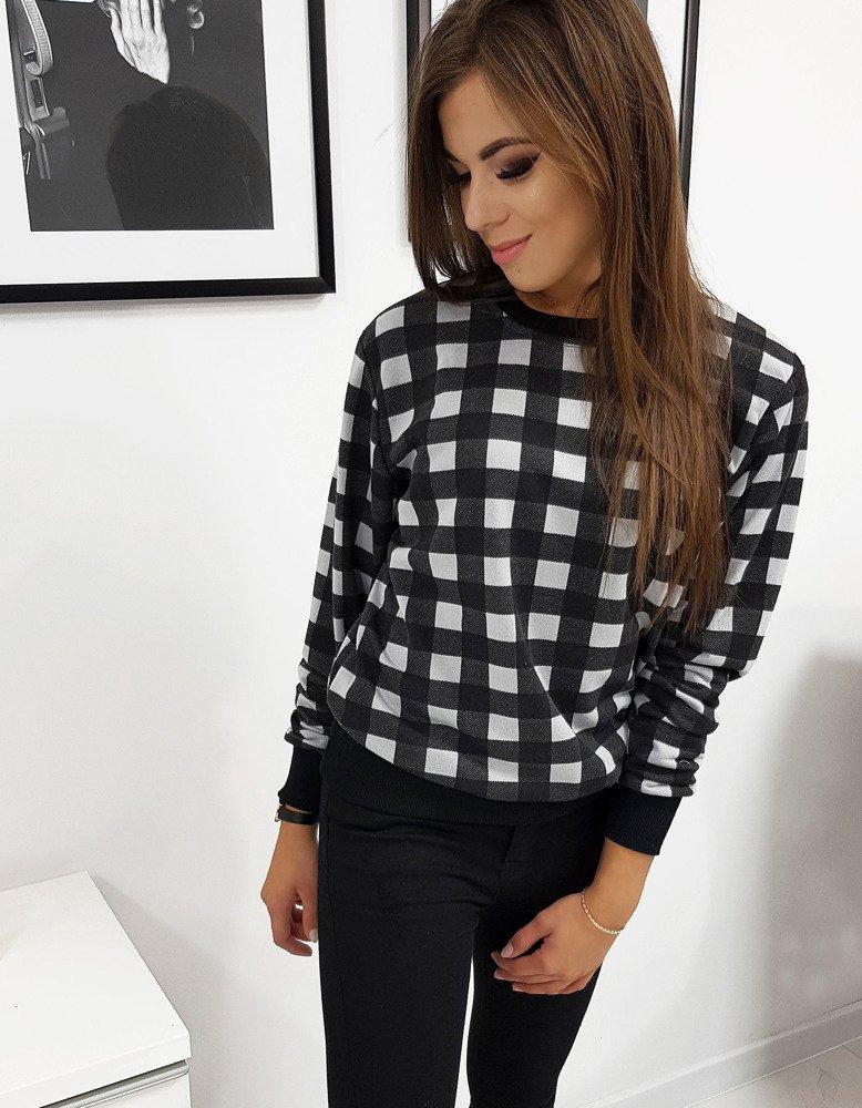 Bluza damska CHECK szaro-czarna w kratkę BY0208