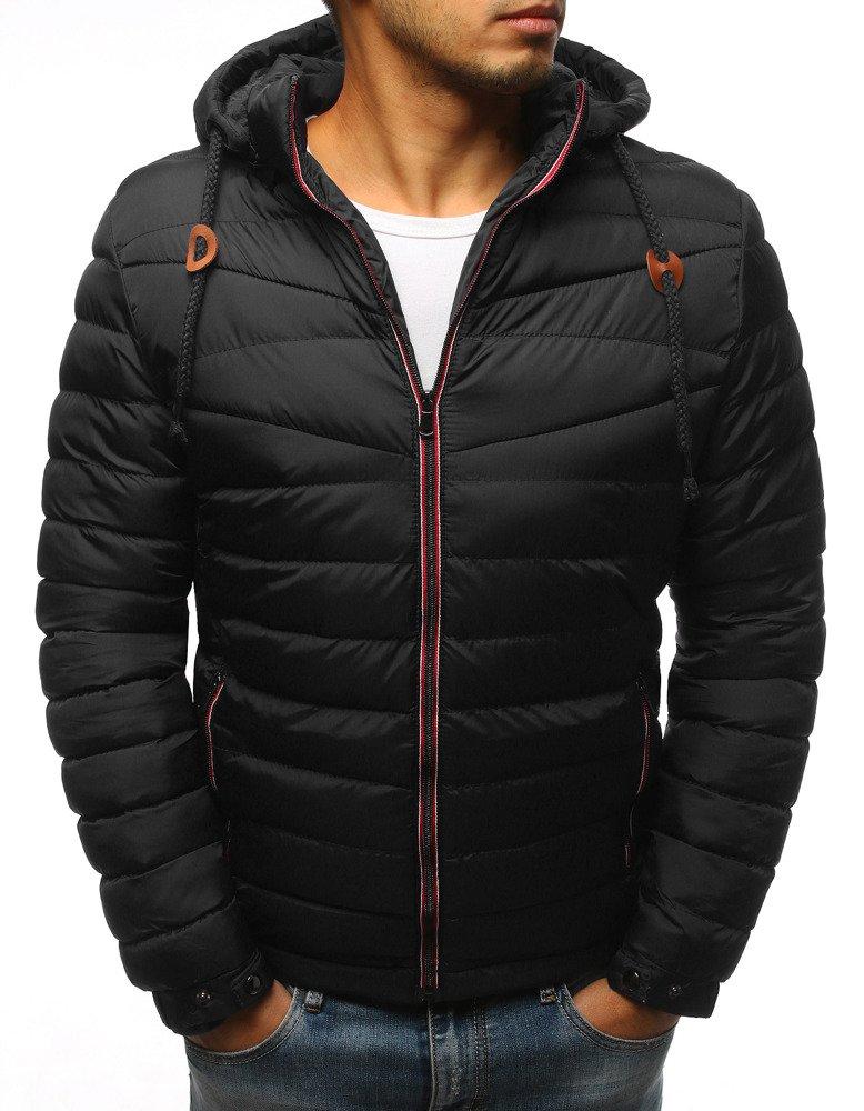 Štýlová čierna zimná bunda pre pánov (tx3081)