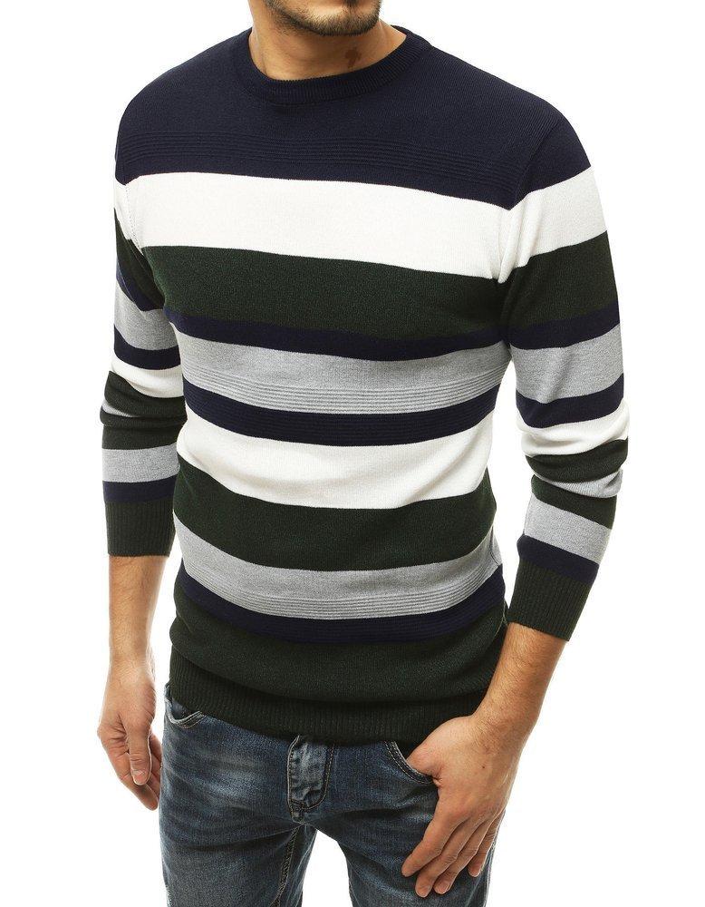 Granátový pánsky sveter s pruhmi.