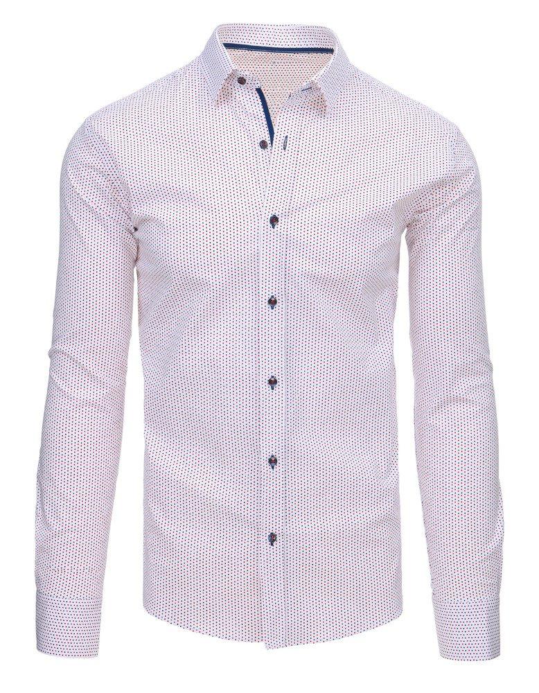 Biała koszula męska we wzory z długim rękawem DX1461 Dstreet