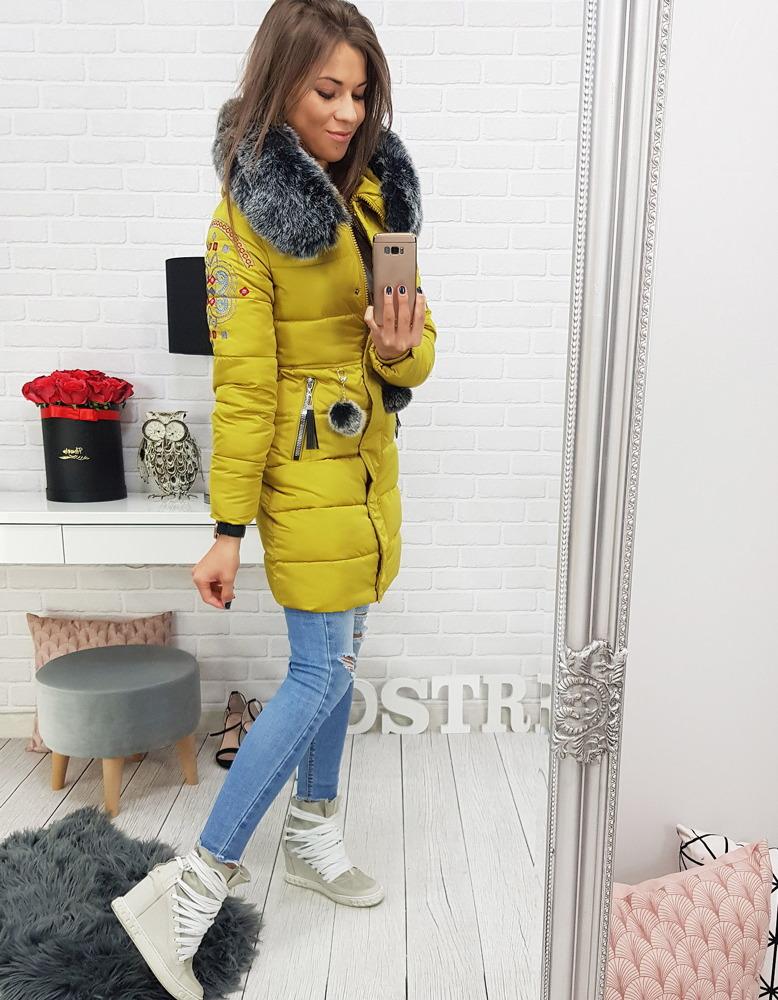 Kurtka damska FOLK zimowa pikowana z kapturem żółta TY0405