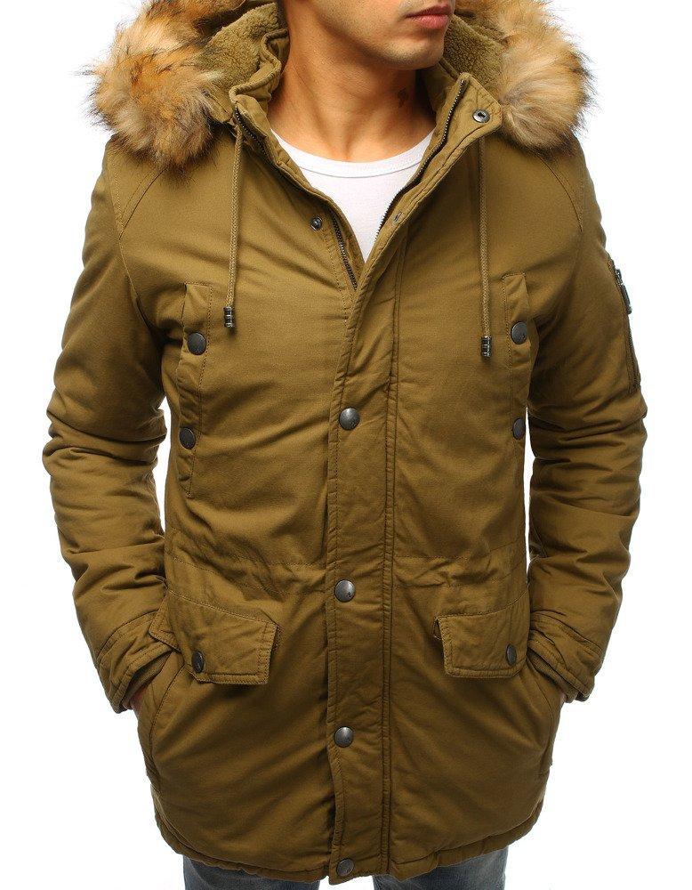 Pánska bunda na zimu v khaki prevedení (tx2471)