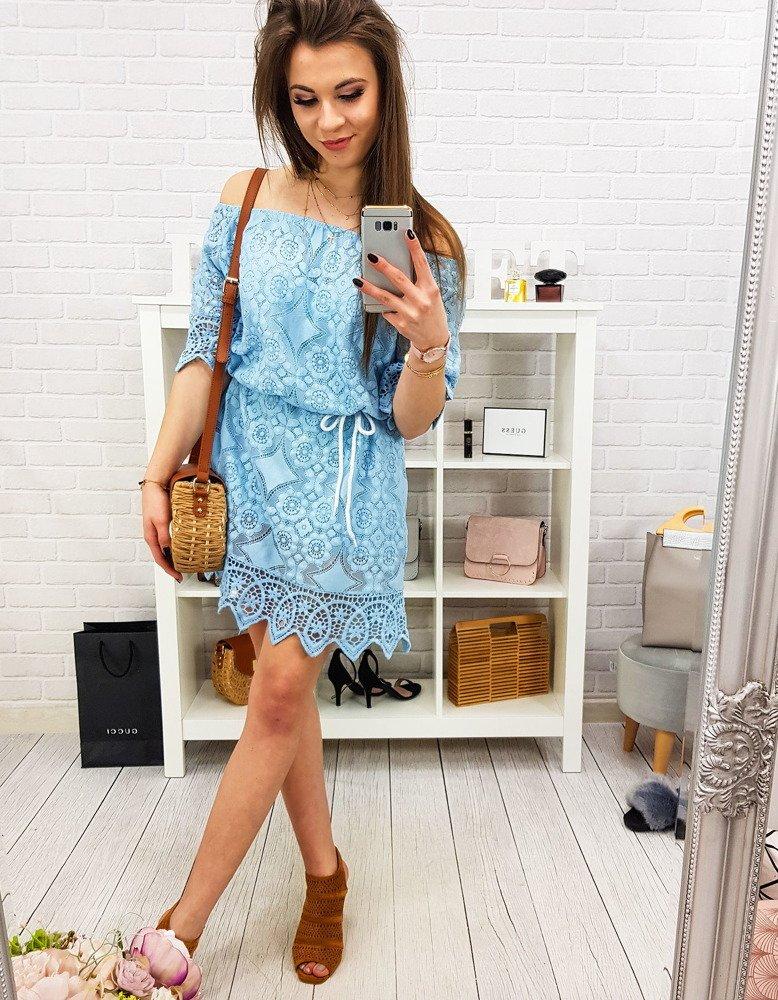 Pastelovo-modré dámske šaty (ey0836)