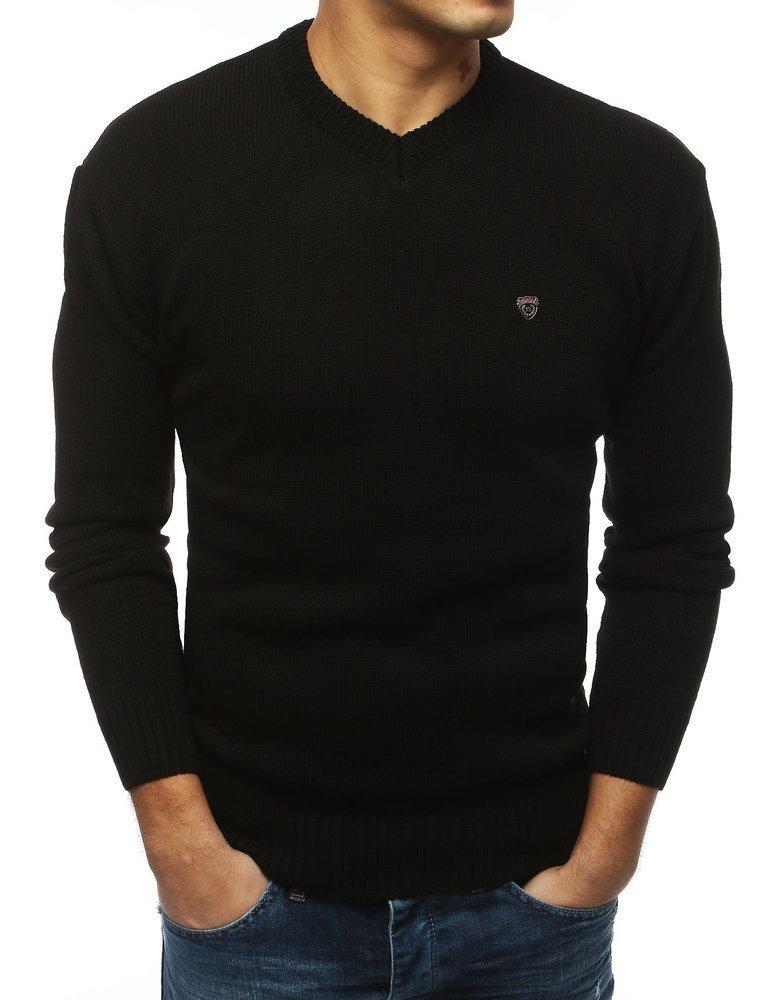 Čierny pánsky sveter s výstrihom (wx1424)