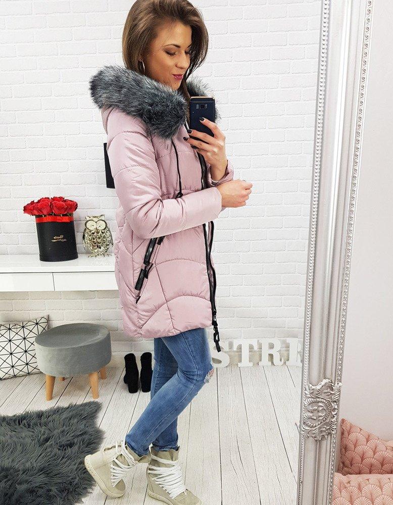 Prešívaná ružová dámska bunda na zimu (ty0517)